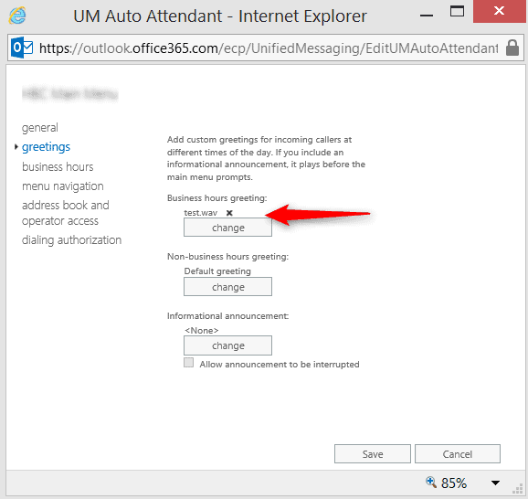 How to Enable Telephone User Interface in Exchange Online to Modify Auto Attendant Greetings
